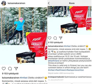 Asiaa havainnollistavien kuvien lähde: vaikuttaja Kaisa Mäkäräisen Instagram-tili